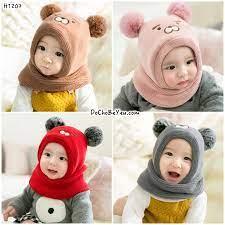 Mũ len + khăn choàng cổ cho bé sơ sinh – DoChoBeYeu.com