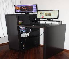 image of black small computer desk ikea
