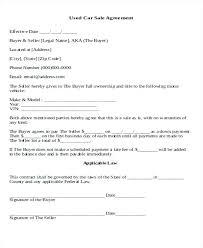 Sales Agreement Letter Sample Fresh Editable Used Car Sale