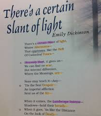 Emily Dickinson Theres A Certain Slant Of Light Images