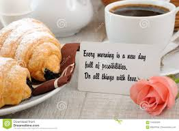 Breakfast With Motivational Quote Stock Photo Image Of Dainty