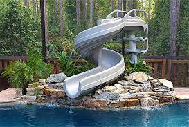 Backyard pool with slides Landscaped Pool Gforce Giant Pool Slides Specialty Pool Products Giant Pool Slides For Backyard Pools