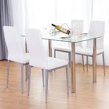 metal kitchen table. Costway 5 Piece Dining Set Table And 4 Chairs Glass Metal Kitchen Breakfast Furniture