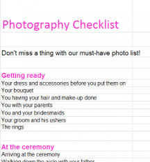 Wedding Photography Checklist Template Wedding Photography Checklist My Excel Templates