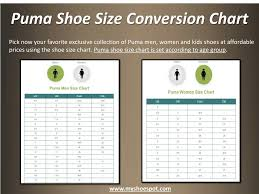 Puma Shoe Size Chart Ppt Shop Your Favorite Shoes With The Help Of Shoe Size