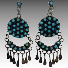 zuni turquoise sterling signed chandelier earrings