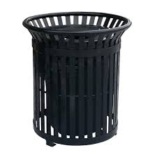 black steel outdoor trash can with steel lid and plastic liner