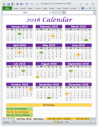 excel 2018 yearly calendar georges excel calendar year 2018 products