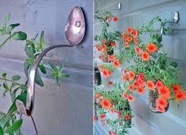 garden art. Junk Garden Art Spoon Reuse Wall Hook Petunia Glass Jars