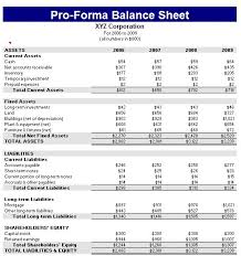 Pro Forma Example Proforma Balance Sheet Template Formal Word Templates
