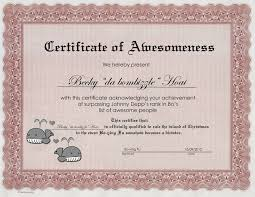 Certificate Of Awesomeness Template Certificate Of Awesomeness Certificate Of