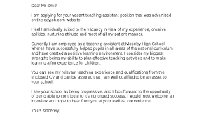 Teaching Assistant Cover Letter Cover Letter For Teacher Assistant