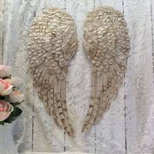 large metal angel wings wall decor distressed pearl white