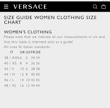 67 Systematic Versace Jacket Size Chart