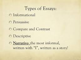 academic writing the common college essay ppt video online 4 types of essays