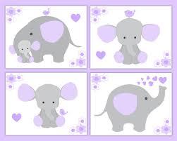nursery prints wall art baby girl elephant lavender purple gray safari animals