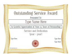 Free Award Template Service Year Certificate Templates Above
