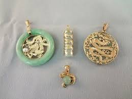 14k gold and green apple jade dragon pendants 4