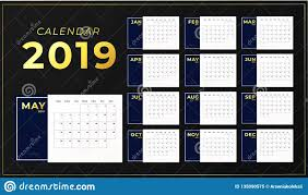 2019 Year Table Calendar Template Horizontal Day Planner