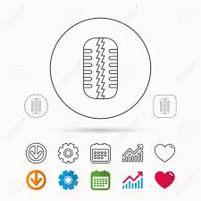 Tire Thickness Chart Tire Tread Icon Car Wheel Sign Calendar Graph Chart And Cogwheel