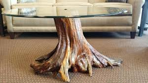 ideas tree stump and glass coffee table