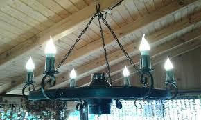 wrought iron ceiling light wagon wheel