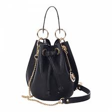 markese black leather bucket bag
