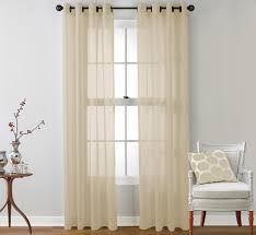 me 2 piece sheer window curtain grommet panels beige 63 inch long home kitchen