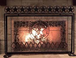 texas star fire place screen exquisite stained glass texas