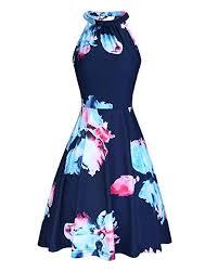 OUGES <b>Women's</b> Halter Neck Floral <b>Summer</b> Casual <b>Sundress</b> at ...