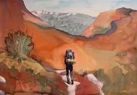hetch hetchy hiker 2 landscape painting by michael serafino on wet paint nyc prints on canvas