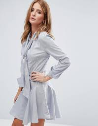 Millie mackintosh Pussy Bow Mini Shirt Dress in Blue Lyst
