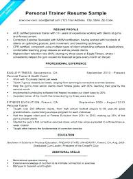New Personal Trainer Resume Sample Samples Athletic Training E No