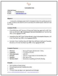 Sample Resume For Freshers B Tech Pdf Download