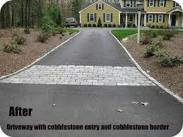 Cobblestone Border And Entry To Asphalt Driveway Asphalt