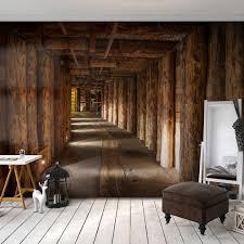 Vlies Fototapete Holz Tunnel Braun 3d Effekt Tapete Schlafzimmer