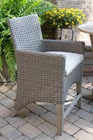 wicker bar height dining table: teak amp wicker counter height bar chair with sunbrella cushion
