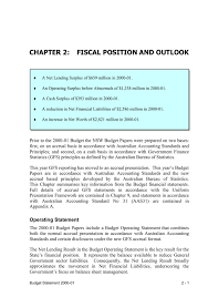 operating statement format chapter 2 fiscal position and outlook