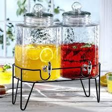 double gallon style setter hamburg glass beverage dispenser with metal stand spigot