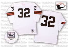 Browns Long-sleeved Jersey Nfl Brown Jim M Cleveland Jerseys 32 amp;n Throwback White Browns