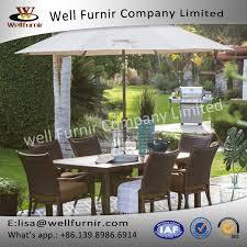 well furnir rattan wicker dining chair and steel slatted table set wellfurnir