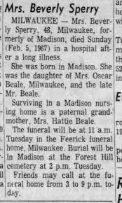 Beverly Beale obit -2/1967 - Newspapers.com