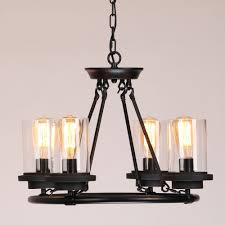 industrial clear milky white glass shade wrought iron round black frame chandelier pendant light