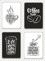 Lettering Templates Set Of Modern Cards With Coffee Elements And Lettering