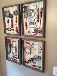 Kitchen wall decorating ideas Hanging Framed Kitchen Gadget Wall Art Fbspotcom 36 Best Kitchen Wall Decor Ideas And Designs For 2019