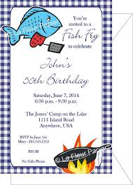 Fish Fry Party Invitations With Printed Envelopes This