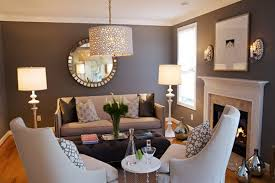 Living Room in Grey with Beige Furniture