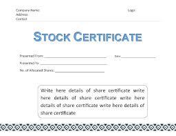 Stock Certificate Template Word Corporate Private Company