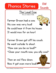 This collection of free reading comprehension worksheets is geared to early readers. Ow Sounds Phonics A Cow In The House Worksheets 99worksheets