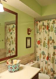 ... Children Bathrooms Decorating Ideas : Lovely Kids Bathroom Design With  White Shower Curtain Designed With Nice ...
